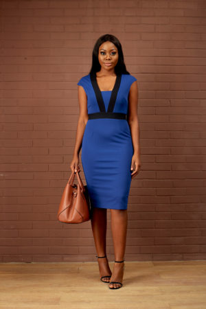COLOR BLOCK PENCIL DRESS - COBALT BLUE & BLACK