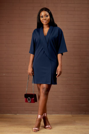 NAVY TUXEDO SHIFT DRESS