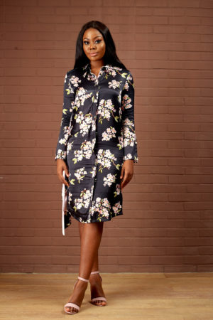 BLACK FLORAL ASYMMETRIC BELT SHIRT DRESS