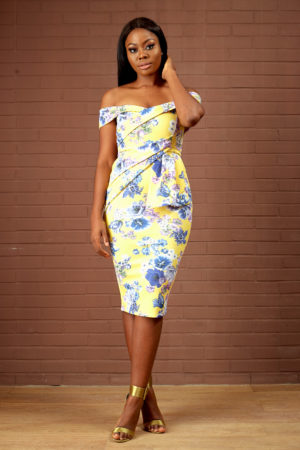 YELLOW & PURPLE PRINT OFF SHOULDER DRESS