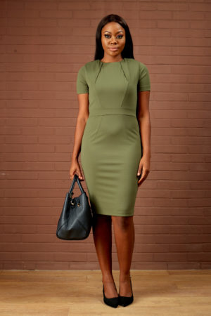 STRETCH TAILORED PENCIL DRESS - KHAKI