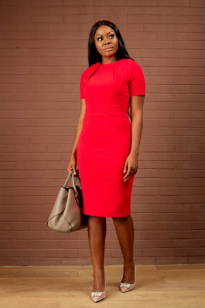 STRETCH TAILORED PENCIL DRESS - RED