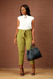 (30% OFF)BELTED HIGH WAIST CROP PANT - KHAKI