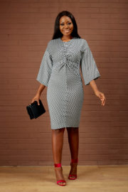 STRIPED FRONT KNOT DRESS