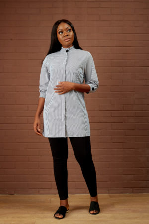 STRIPED BISHOP NECK LONG TOP - BLACK