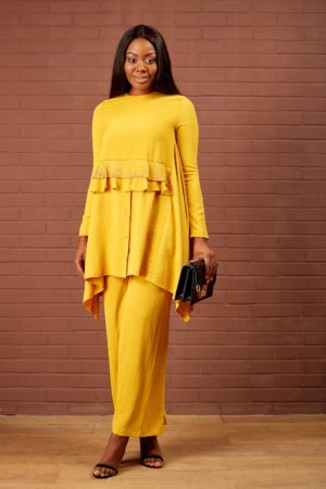 FRONT PLEAT& FRILL SUIT SET - MUSTARD