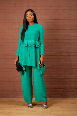 FRONT PLEAT& FRILL SUIT SET - GREEN