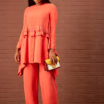 FRONT PLEAT& FRILL SUIT SET - ORANGE