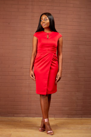 PLEATED WAIST PENCIL DRESS - RED
