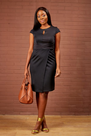 PLEATED WAIST PENCIL DRESS - BLACK