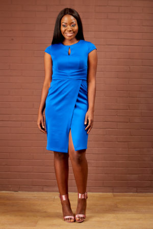 PLEATED WAIST PENCIL DRESS - COBALT BLUE