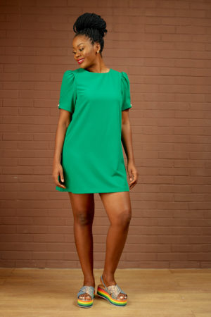 (30% OFF) PEARL DETAIL PUFF SLEEVE TUNIC - GREEN