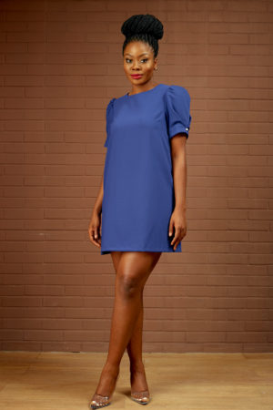 (30% OFF) PEARL DETAIL PUFF SLEEVE TUNIC - COBALT BLUE