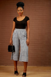KOTON CASUAL STRIPE BELTED CULLOTES