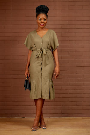 (30% OFF)LINEN PEPLUM HEM DRESS - KHAKI