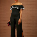 (30% OFF) BLACK WITH WHITE TRIMMING BARDOT JUMPSUIT