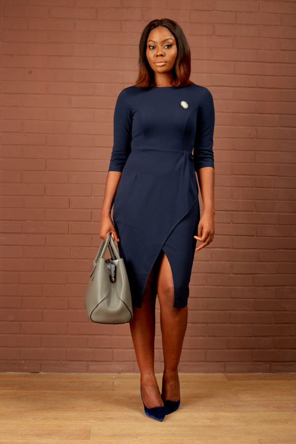(30% OFF) 3/4 SLEEVE FRILL WRAP DRESS - NAVY