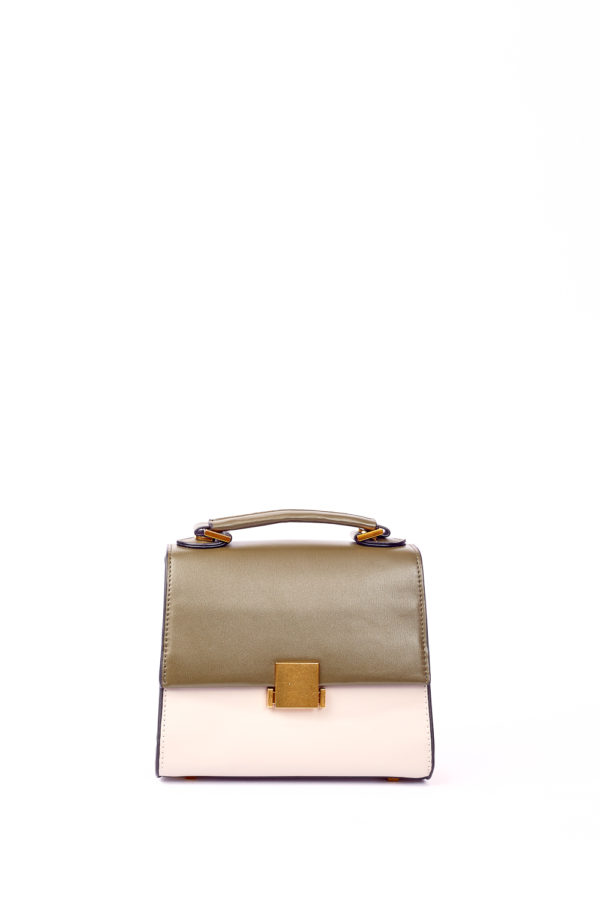 GRAB HANDLE BOX MINI BAG - KHAKI,TAUPE & CAMEL