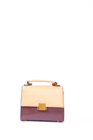 GRAB HANDLE BOX MINI BAG - NUDE & BROWN