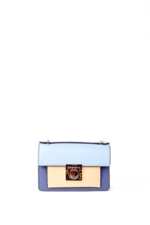 F BUCKLE MINI BAG - PALE BLUE,NAVY & TAUPE