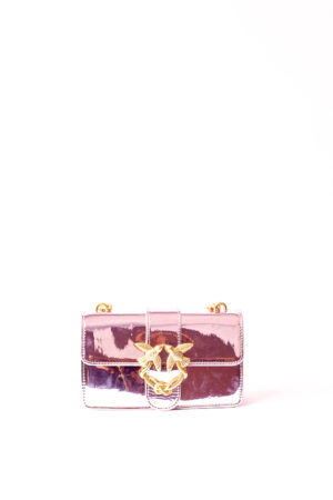PATENT KISSING BIRDS CHAIN BAG - PINK