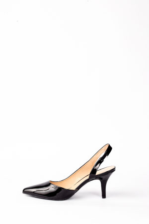 (30% OFF) PORTIA PATENT SLING BACK HEELS - BLACK