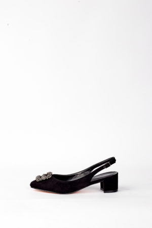 (2 FOR 17K)WAGCHIC BUCKLE SLING BACK MIDI HEEL - BLACK