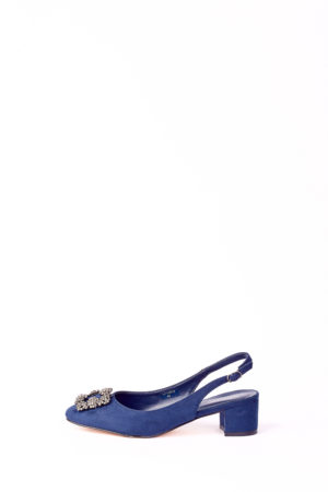 (2 FOR 17K)WAGCHIC BUCKLE SLING BACK MIDI HEEL - NAVY