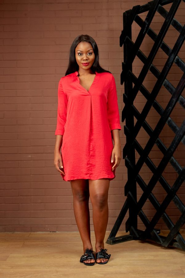 (30% OFF) RED DISTRESSED TUNIC