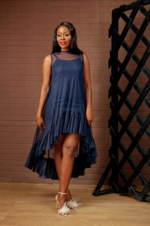 SHEER PEPLUM HEM SWING DRESS - NAVY