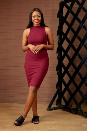 (30% OFF) MOCK NECK RIB BONE BODYCON DRESS - MAROON
