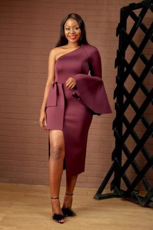 (30% OFF) AUBERGINE SCUBA MONOSTRAP DRESS