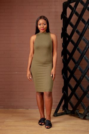 (30% OFF) MOCK NECK RIB BONE BODYCON DRESS - OLIVE