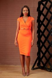 (30% OFF) MILITARY PENCIL DRESS - ORANGE