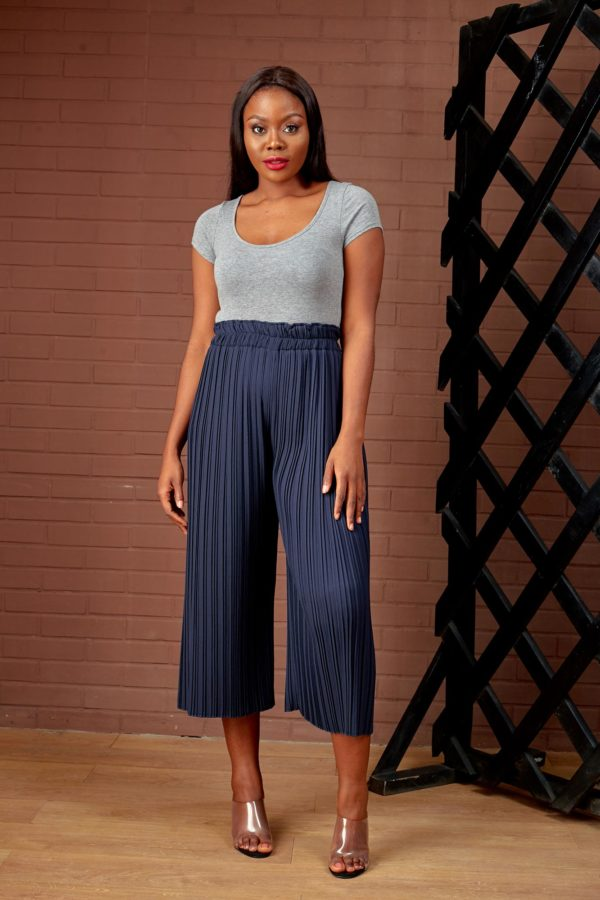 (30% OFF) NAVY PLEATED CULOTTES