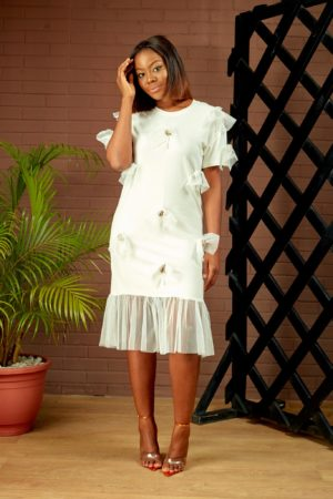 PETAL DETAIL TEE SHIRT DRESS - IVORY