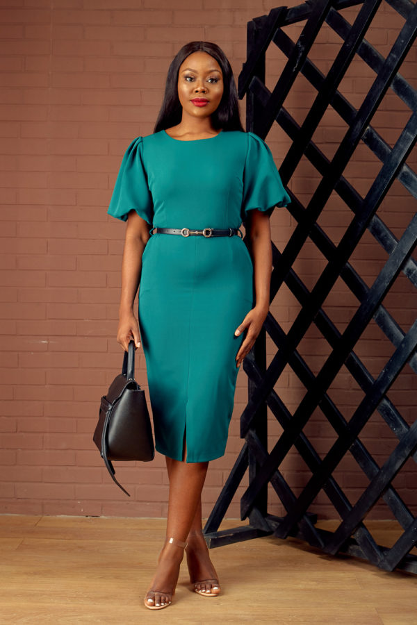 BUBBLE SLEEVE PENCIL DRESS - TEAL