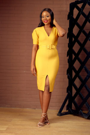 (30% OFF) MUSTARD BELTED V NECK WIGGLE DRESS