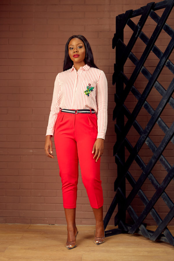 (30% OFF) KOTON RED BELTED CROP PANT
