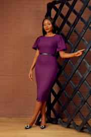BUBBLE SLEEVE PENCIL DRESS - PURPLE