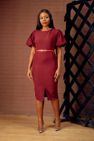 BUBBLE SLEEVE PENCIL DRESS - MAROON