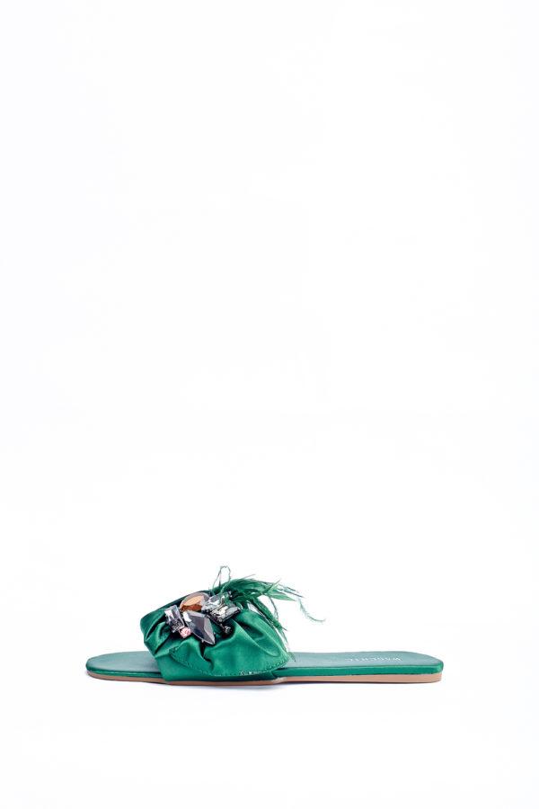 (2 FOR 17K) WAGCHIC FEATHER SLIPPERS - GREEN