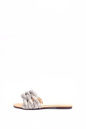 (30% OFF) WAGCHIC WOVEN DETAIL SLIPPERS - GOLD