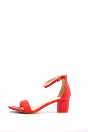 (30% OFF) JEAN MIDI BLOCK SANDAL - RED