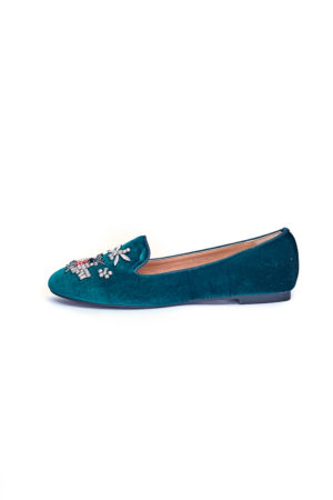 VELVET BUTTERFLY EMBELLISHED LOAFERS - GREEN