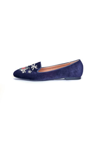 VELVET BUTTERFLY EMBELLISHED LOAFERS - NAVY