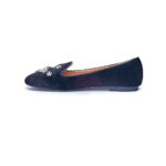 VELVET BUTTERFLY EMBELLISHED LOAFERS - BLACK