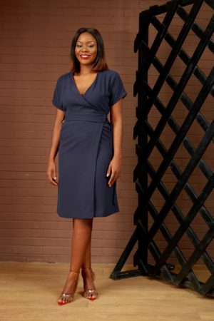 NAVY WRAP D-RING DRESS