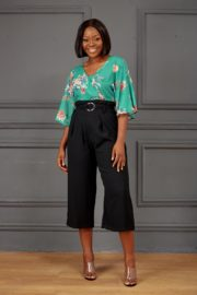 (30% OFF) FLORAL FLARE BLOUSE - GREEN
