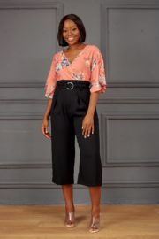 (30% OFF) FLORAL FLARE BLOUSE - PEACH